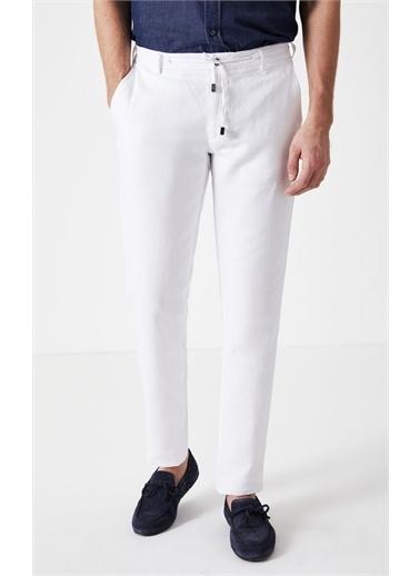 Boris Becker Keten Karışımlı Slim Fit Jogger Erkek Pantolon Beyaz